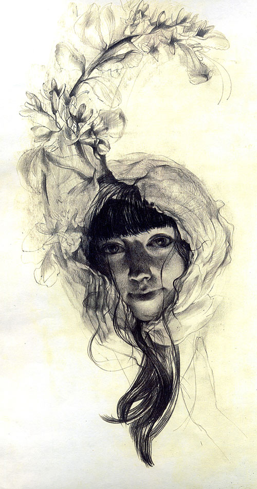 The graphic artist Elizaveta Pastushenko. Artwork. Picture. Drawing. Graphic arts. Composition. Autumn flowers from the series Women and Flowers. 2007, 42 x 30 cm, paper pencil
