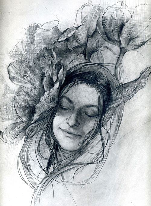The graphic artist Elizaveta Pastushenko. Artwork. Picture. Drawing. Graphic arts. Composition. Tulip from the series Women and Flowers. 2007, 42 x 30 cm, paper pencil