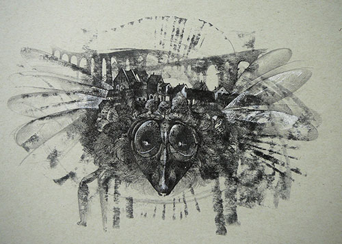 The graphic artist Elizaveta Pastushenko. Artwork. Picture. Drawing. Graphic arts. Composition. The 4th composition from the series Hidden worlds. 2014, 21 x 30 cm, paper pencil ink pen mixed technique